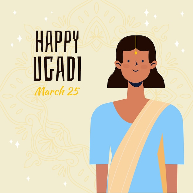 Ugadi event with hand drawn design with woman Free Vector