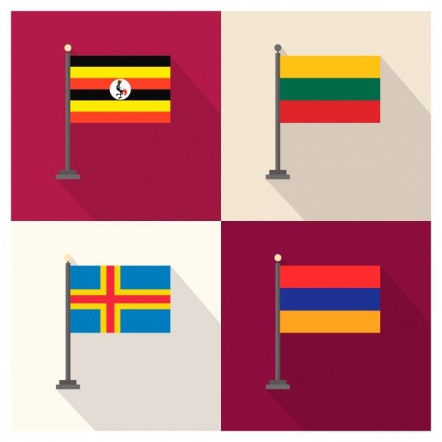 Uganda lithuania aland and armenia flags Free Vector