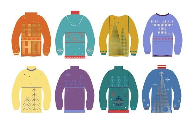醜いクリスマスセーター。さまざまなかわいい北欧の冬の飾りが付いた伝統的なクリスマスジャンパー。休日のカラフルな服のベクトルセット Premiumベクター