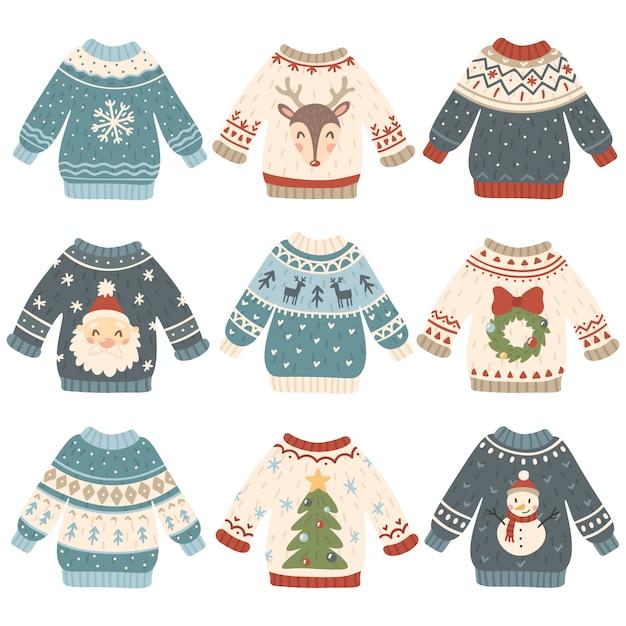 Набор уродливых рождественских свитеров Premium векторы