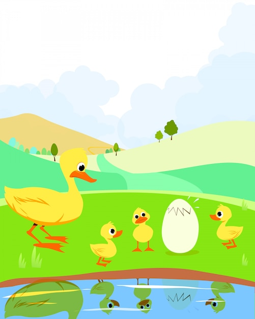The ugly ducking, fairy tale. Premium Vector