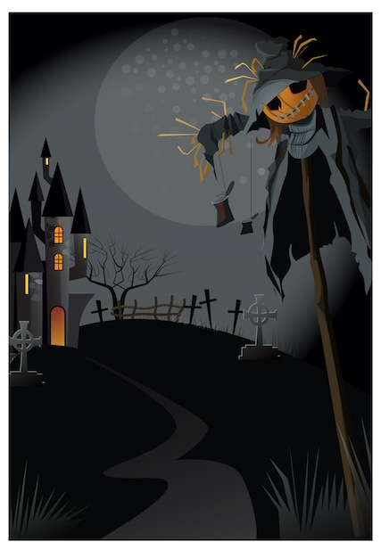 Ugly scarecrow on stick at night illustration Free Vector