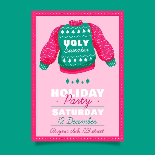 醜いセーターパーティーの招待状 無料ベクター