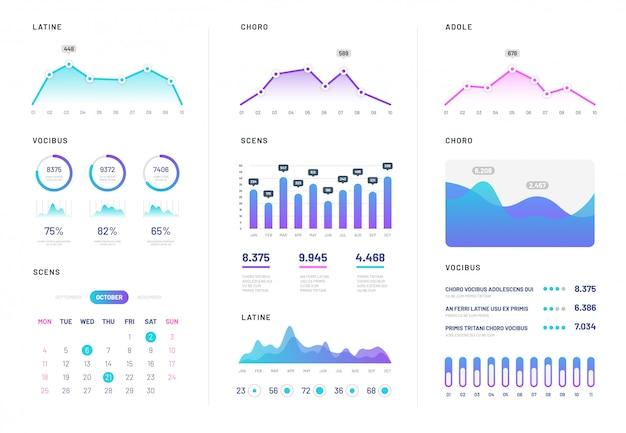 Uiダッシュボード。グラデーションファイナンスグラフ、統計グラフ、列図とモダンなインフォグラフィック。分析インターネットベクトルレポート Premiumベクター