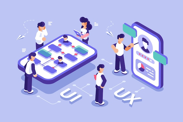 Ui design concept with character. software group, kit for phone seo programming. ux flat isometric vector . mobile app user interface development. teamwork. can use for web banner, infographics. Premium Vector