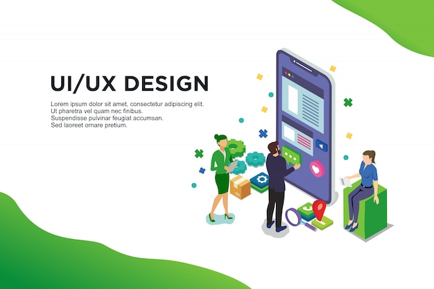 Ui design concept with character Premium Vector