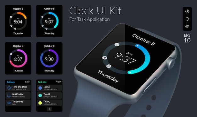 Ui design concept with clock collection and web elements for task application illustration Free Vector