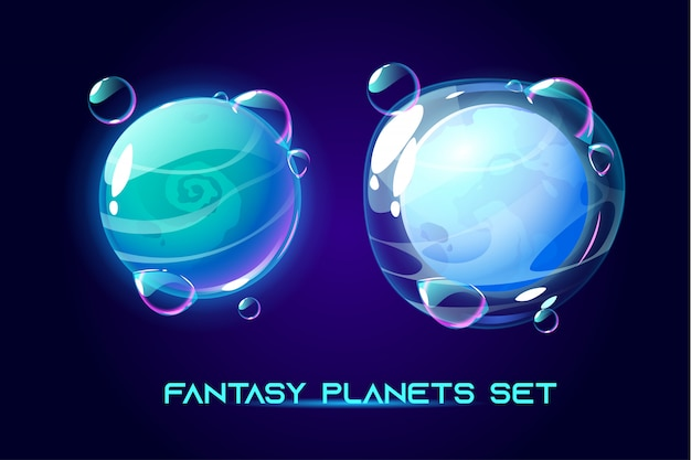 Фантастические космические планеты для игры ui galaxy Бесплатные векторы