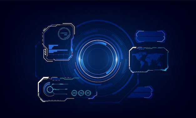 Ui hud screen tech system innovation background template. Premium Vector