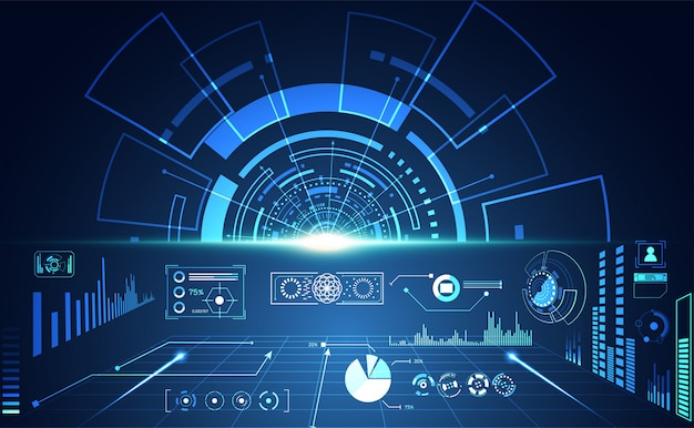 抽象的なテクノロジーui未来コンセプトhudインターフェイスホログラム Premiumベクター