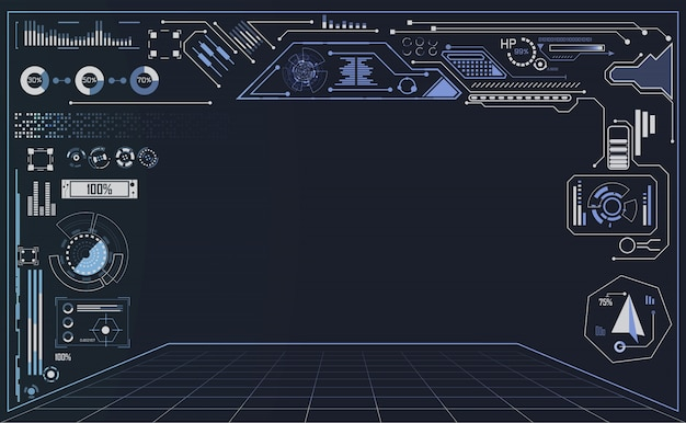 技術ui未来概念hudインターフェイス Premiumベクター