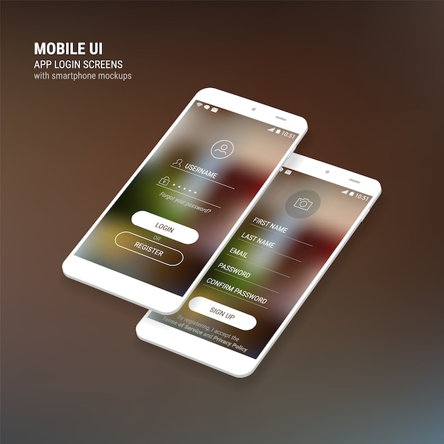 Ui sign in and sign up screens and 3d smartphone  kit Premium Vector