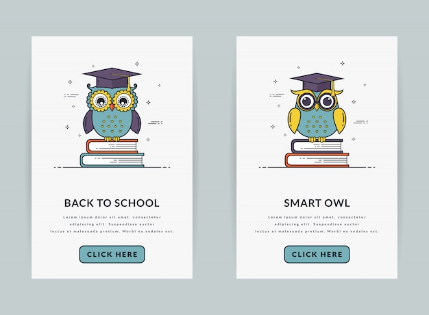 Ui template or web banners for education theme. Premium Vector