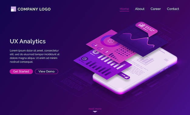 Ui ux analytics dashboard isometric landing page Free Vector