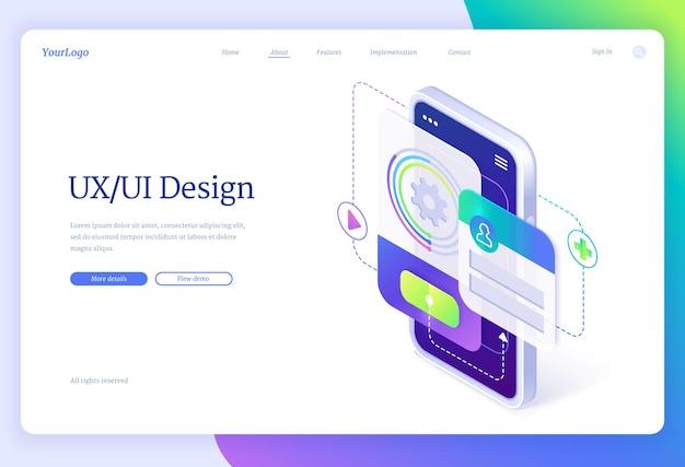 Pagina di destinazione isometrica di progettazione di interfaccia utente e ux Vettore gratuito