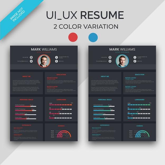 Ui Ux Designer Resume Premium Vector