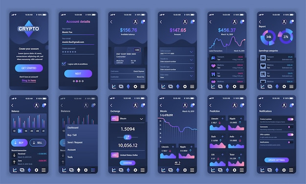 Ui、ux、gui画面のセットcryptocurrency app flat Premiumベクター
