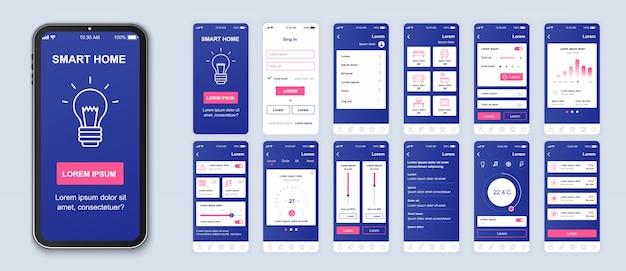 Мобильное приложение для умного дома с экранами ui, ux, gui для приложений Premium векторы