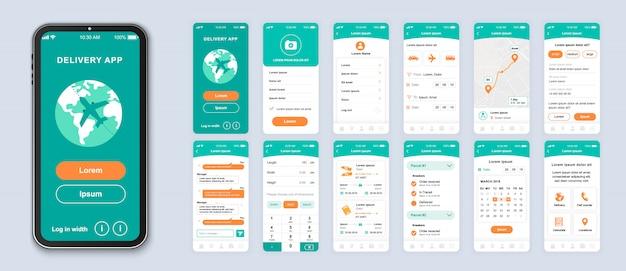 Поставка мобильного приложения с экранами ui, ux, gui для приложения Premium векторы