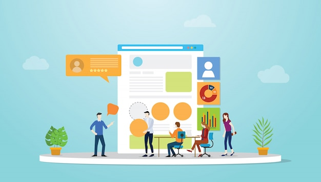 Ui Ux User Interface And User Experience Design Concept Development With Team People And Browser With Modern Flat Style Premium Vector