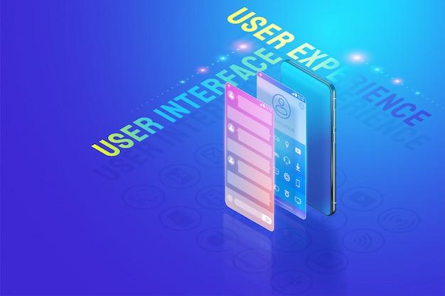 Ui ux ux 3d изометрические иллюстрации дизайн, создание и дизайн пользовательского интерфейса, пользовательский опыт и концепция разработки приложений вектор. Premium векторы