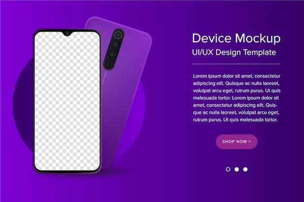 Современный ui / ux и смартфон шаблон с пустым экраном Premium векторы