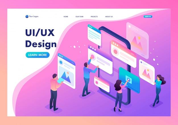 Целевая страница процесса создания дизайна приложения ui ux Premium векторы