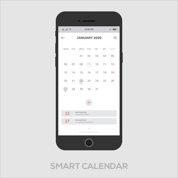 スマートカレンダーアプリui ux Premiumベクター