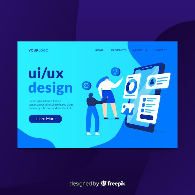Ui / uxデザインのランディングページ 無料ベクター