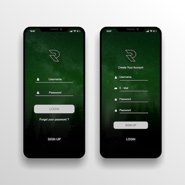 Ui / uxデザインのログイン画面 Premiumベクター
