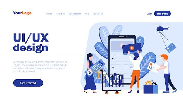 Ui и ux дизайн векторный шаблон целевой страницы с заголовком Premium векторы