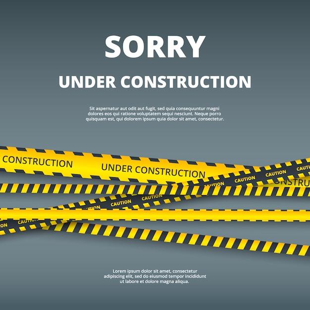 建設中のページ。注意危険ストライプセキュリティタイプベクトルuiテンプレートとwebサイトのデザインテンプレートイラスト Premiumベクター