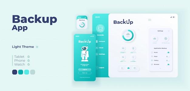 バックアップアプリ画面のアダプティブデザインテンプレート。フラット文字を使用したクラウドストレージアプリケーションのデイモードインターフェイス。パーソナルインターネットデータベーススマートフォン、タブレット、スマートウォッチ漫画ui Premiumベクター