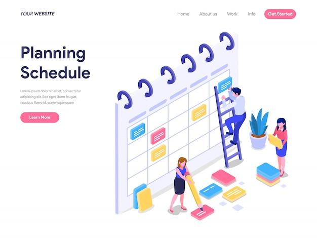 ランディングページ、ui、ウェブサイトのスケジュール計画等尺性概念 Premiumベクター