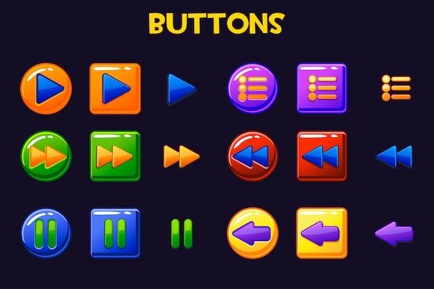Красочные игровые кнопки ui, кнопка мультфильма Premium векторы