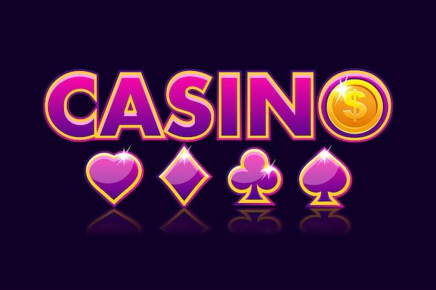 画面ロゴカジノ背景、ゲームカードの兆候とコインドルのアイコンをギャンブルします。ゲームカジノ、スロット、ui。図 Premiumベクター