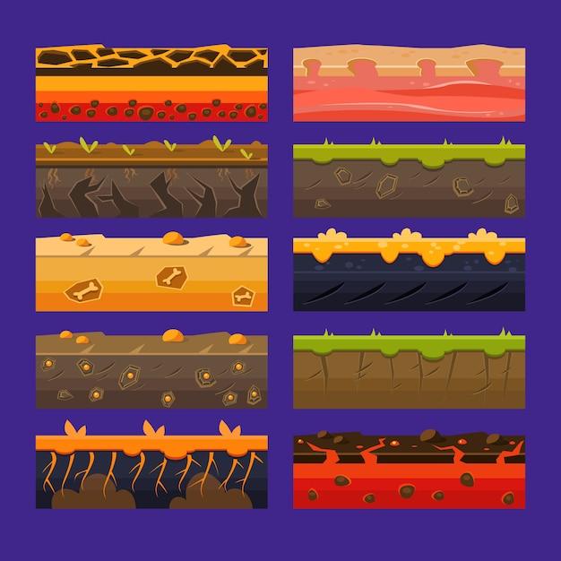 Uiゲーム用のシームレスなグラウンド、土壌、土地セット Premiumベクター