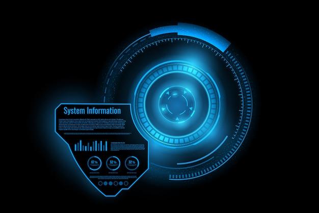抽象技術未来インターフェース。デジタルuiの要素 Premiumベクター