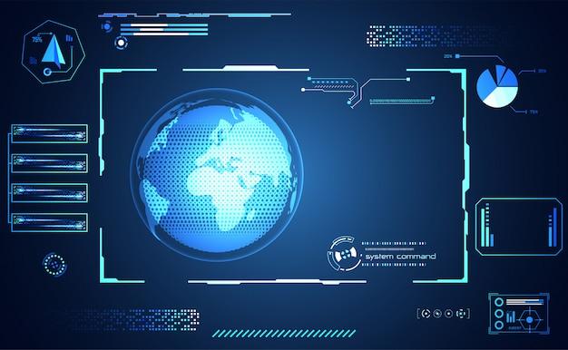 抽象的なテクノロジーのui未来的な世界 Premiumベクター