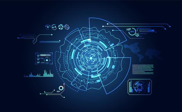 抽象的なテクノロジーのui未来的なハッドインターフェイスホログラム要素 Premiumベクター