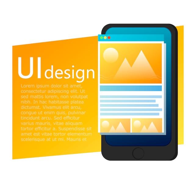 Uiアプリのデザイン携帯電話のバナー 無料ベクター