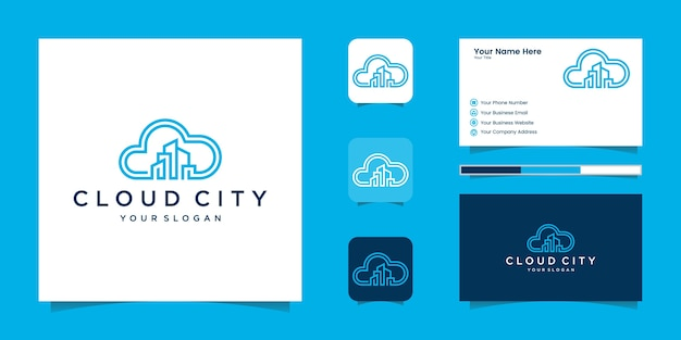 Uilding cloud logo design concept . cloud city logo and business card Premium Vector