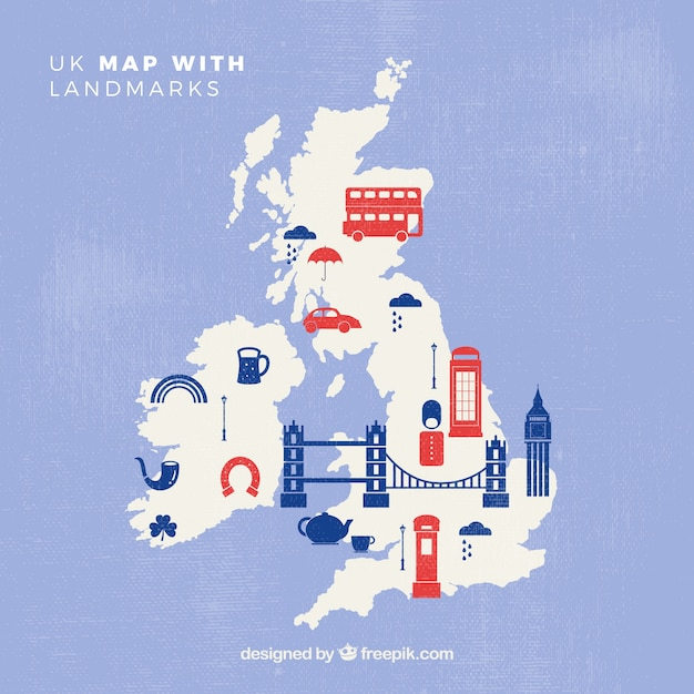 Uk map with monuments Free Vector