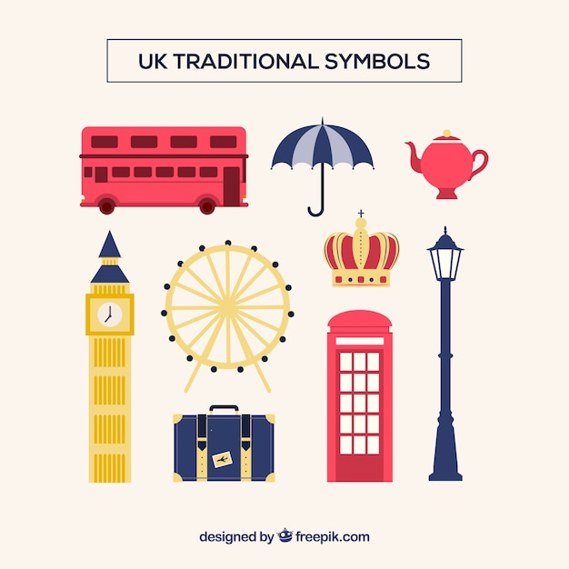 Uk traditional symbols Free Vector