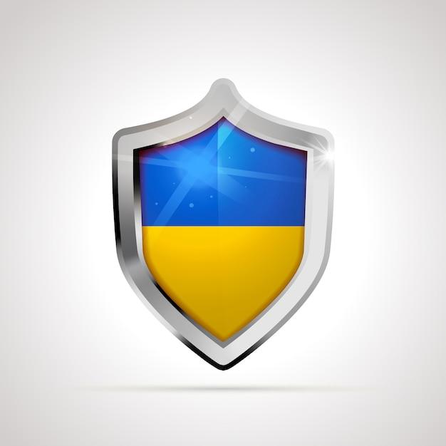 Флаг украины спроектирован как глянцевый щит Premium векторы