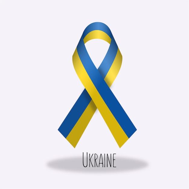 Ukraine flag ribbon design Free Vector