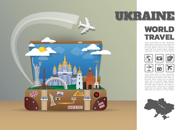 Украина ориентир глобальные путешествия и путешествие инфографики багажа. дизайн шаблона. / иллюстрация. Premium векторы
