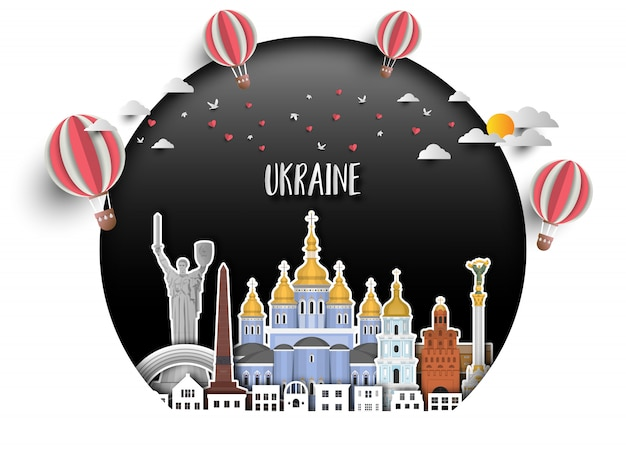 Ukraine landmark global travel and journey paper background. Premium Vector