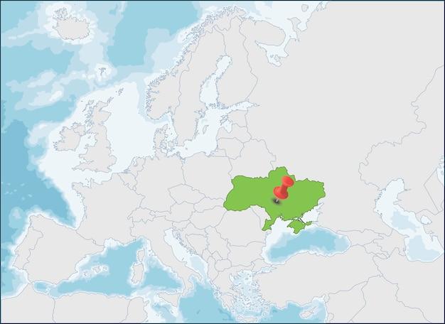 東ヨーロッパ地図、イラストのウクライナの場所 | プレミアムベクター