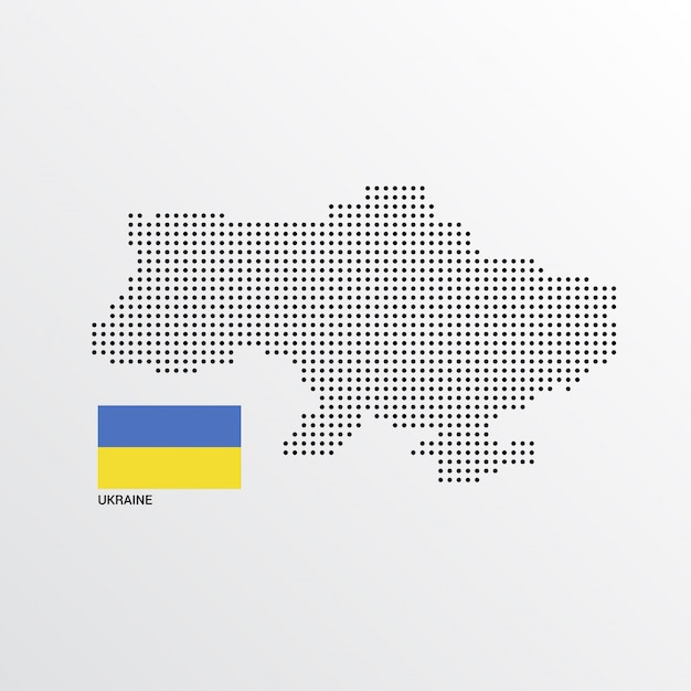 Ukraine map design with flag and light background vector Free Vector